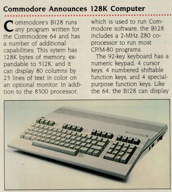 Commodore B(C)128 Product Announcement, Byte Feb 1985